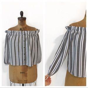 CAMEO ROSE  plus size cold shoulder stripe blouse.